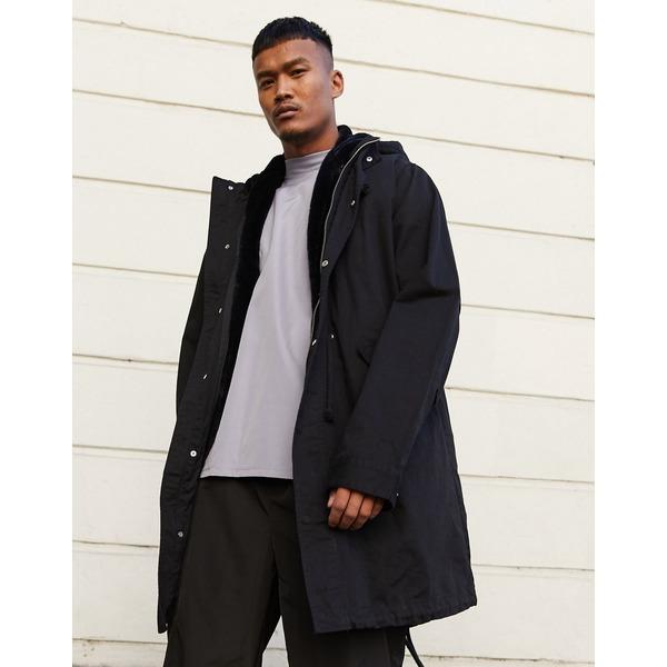 エイソス メンズ コート アウター ASOS DESIGN parka jacket in black with detachable faux fur liner Black