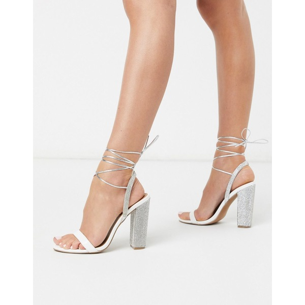 エイソス レディース サンダル シューズ ASOS DESIGN Wide Fit Narrator strappy sandals with embellished heel in rose gold White