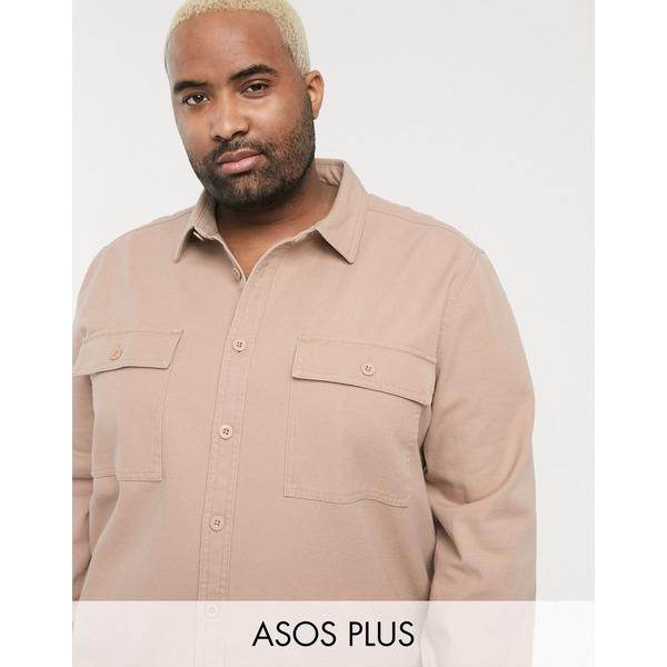 エイソス メンズ シャツ トップス ASOS DESIGN Plus overshirt in dusty washed pink with double pockets Pink