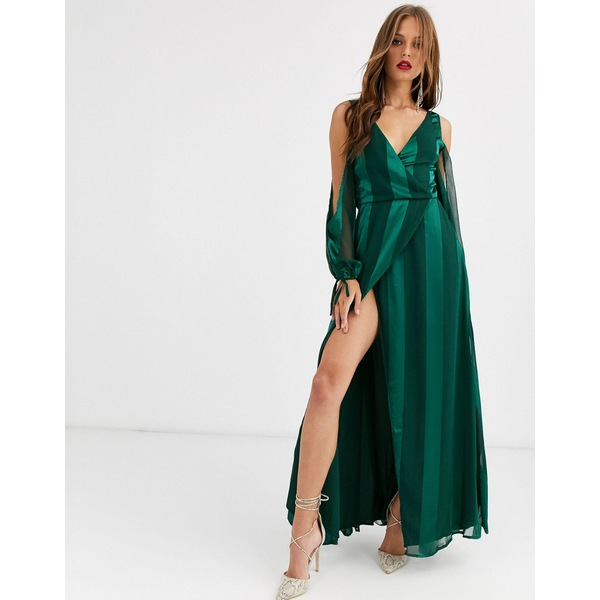 エイソス レディース ワンピース トップス ASOS DESIGN open sleeve burnout stripe maxi dress Forest green