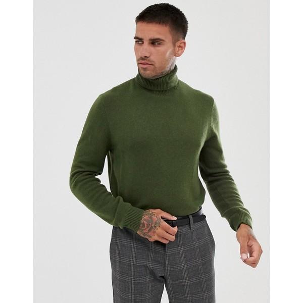 エイソス メンズ ニット&セーター アウター ASOS DESIGN lambswool roll neck sweater in khaki Khaki