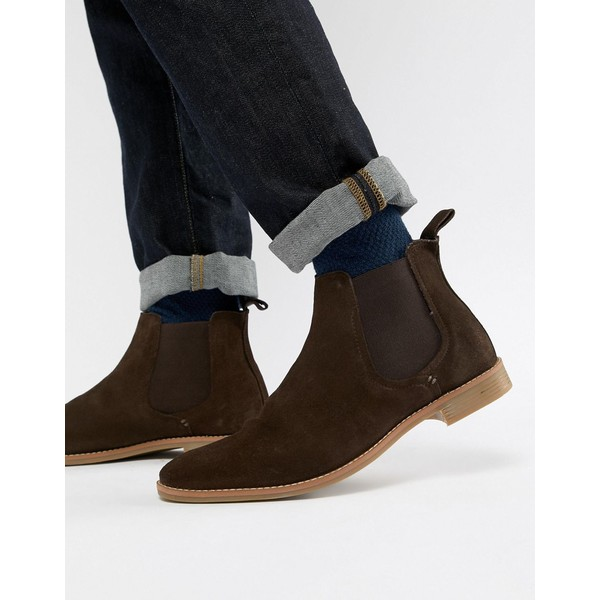 エイソス メンズ ブーツ&レインブーツ シューズ ASOS DESIGN chelsea boots in brown suede with natural sole Brown