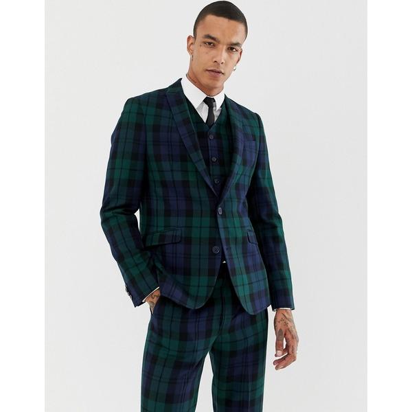 ハートアンドダガー メンズ ジャケット&ブルゾン アウター Heart & Dagger slim suit jacket in blackwatch check Green