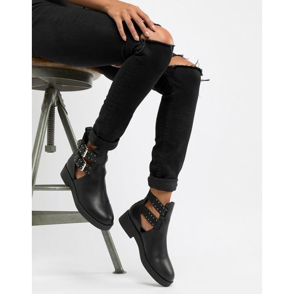 エイソス レディース ブーツ&レインブーツ シューズ ASOS DESIGN Ark chunky cut out boots Black