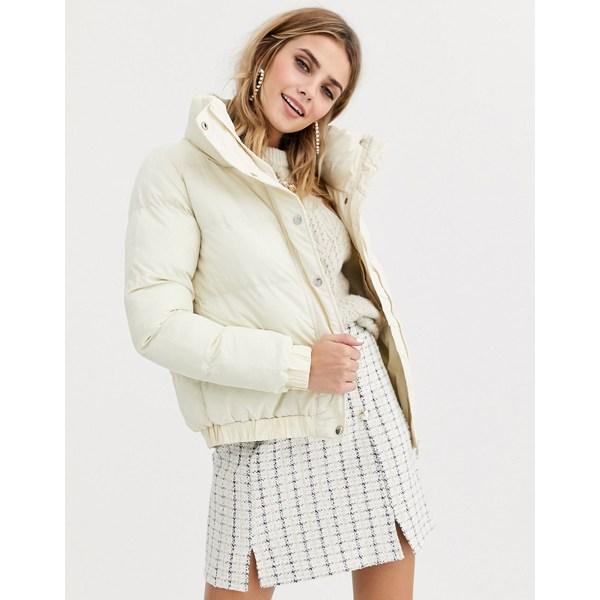 ブレーブソウル レディース コート アウター Brave Soul slay cropped padded coat Off white