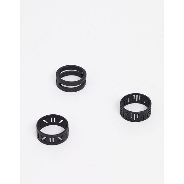 エイソス メンズ アクセサリー リング Black 全商品無料サイズ交換 エイソス メンズ リング アクセサリー ASOS DESIGN ring pack in matte black emboss Black