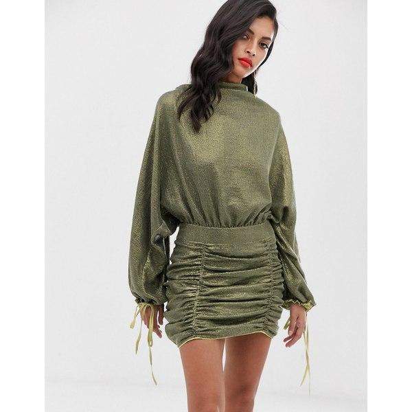 エイソス レディース ワンピース トップス ASOS DESIGN oversized mini dress in all over sequin Khaki