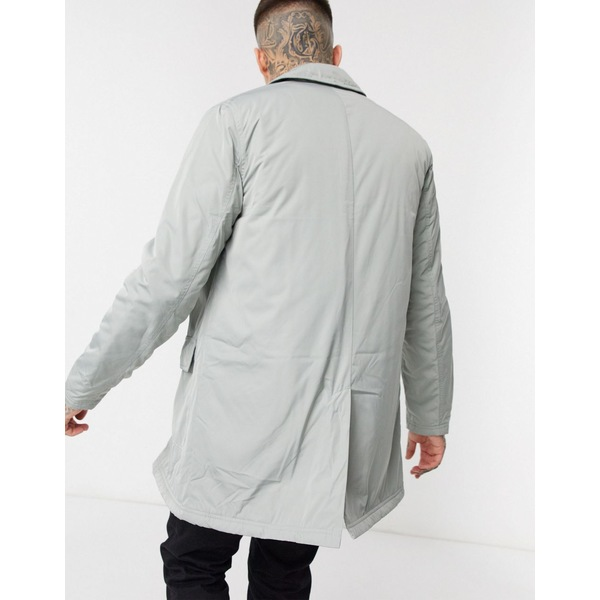 エイソス メンズ コート アウター ASOS DESIGN nylon trench coat in gray Gray