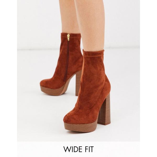 エイソス レディース ブーツ&レインブーツ シューズ ASOS DESIGN Wide Fit Blake platform sock boots in tan Tan
