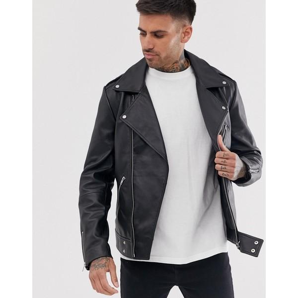エイソス メンズ ジャケット&ブルゾン アウター ASOS DESIGN leather biker jacket in black Black