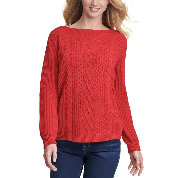 Cable-Knit Boat-Neck トミー Scarlet ニット&セーター Sweater レディース ヒルフィガー アウター