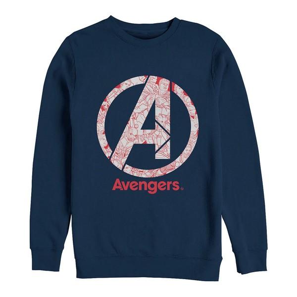 国内発送 マーベル メンズ パーカー・スウェットシャツ アウター Men&39;s Avengers Endgame Line Art Logo, Crewneck Fleece Navy, 木製ウッドブラインドのオルサン c97638f0