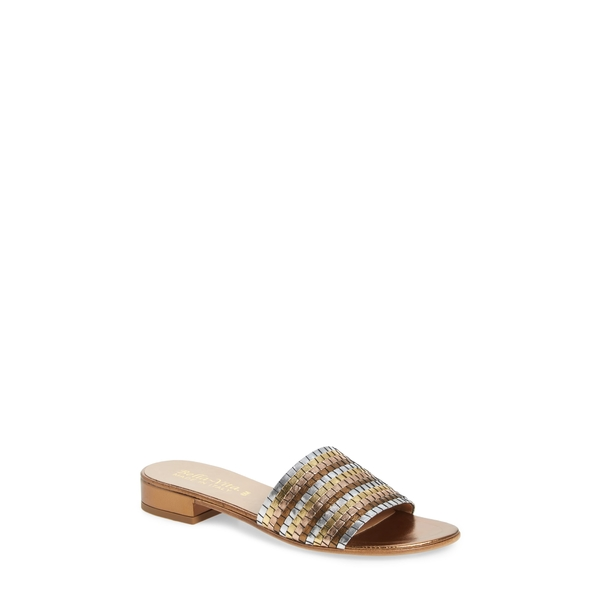 ベラヴィータ レディース サンダル シューズ Eli-Italy Woven Slide Sandal Metallic Multi Leather