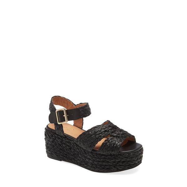 セイシェルズ レディース サンダル シューズ Glistening Platform Wedge Sandal Black Raffia