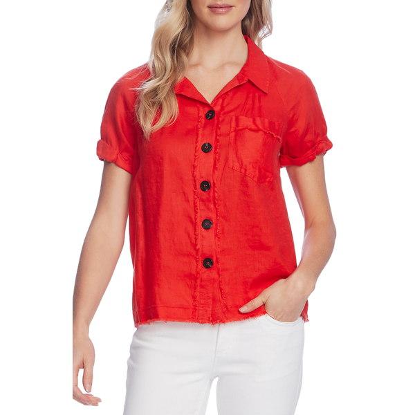 ヴィンスカムート レディース シャツ トップス Button Up Linen Shirt Bright Ladybug