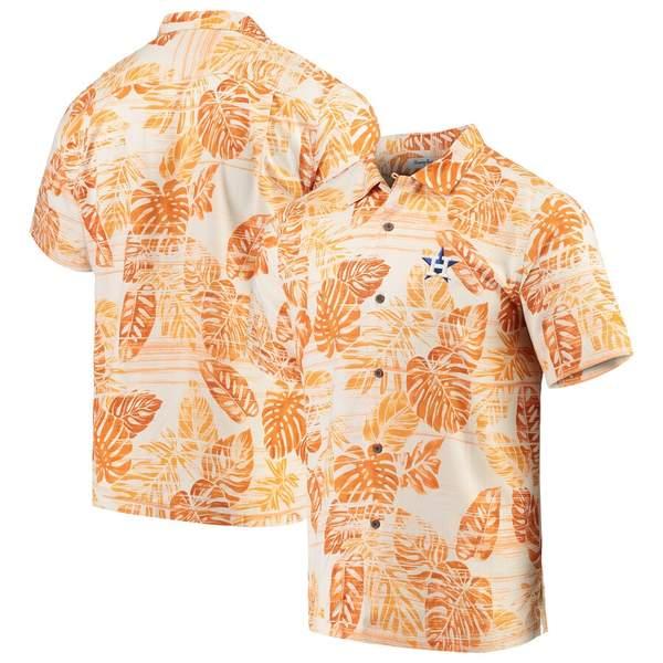 トッミーバハマ メンズ シャツ トップス Houston Astros Tommy Bahama Sport Super Fan Silk Camp Shirt Orange
