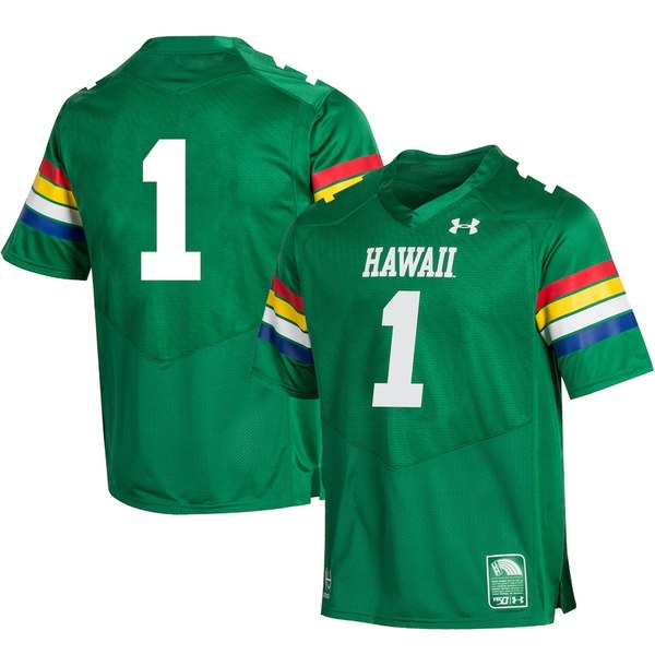 アンダーアーマー メンズ シャツ トップス #1 Hawaii Warriors Under Armour College Football 150th Anniversary Special Game Replica Jersey Green