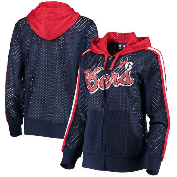 カールバンクス レディース ジャケット&ブルゾン アウター Philadelphia 76ers G-III 4Her by Carl Banks Women's Top of the Key Foil Mesh Full-Zip Hoodie Navy
