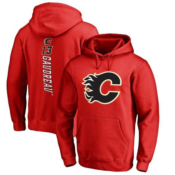 ファナティクス メンズ パーカー・スウェットシャツ アウター Johnny Gaudreau Calgary Flames Fanatics Branded Backer Pullover Hoodie Red