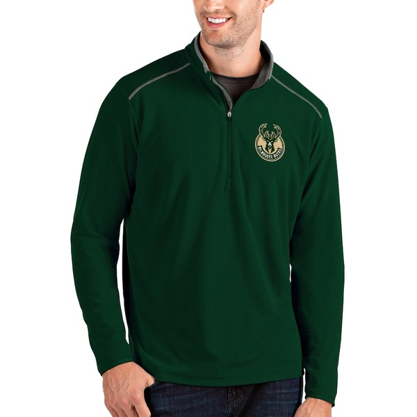 アンティグア メンズ ジャケット&ブルゾン アウター Milwaukee Bucks Antigua Glacier Quarter-Zip Pullover Jacket Green/Gray
