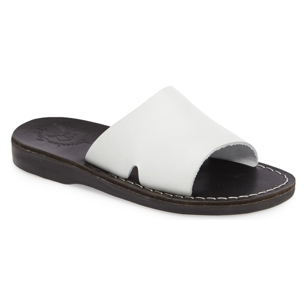 エルサレムサンダル レディース サンダル シューズ Jerusalem Sandals Bashan Open Toe Slide (Women) Black/ White Leather