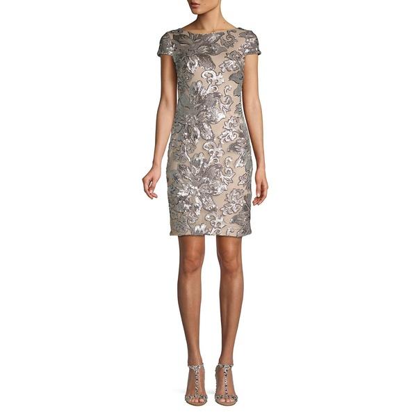 カルバンクライン レディース ワンピース レディース トップス Cap-Sleeve Sequined Floral トップス Sheath Dress Floral Silver, きもの ほ乃香:1c5c0906 --- officewill.xsrv.jp