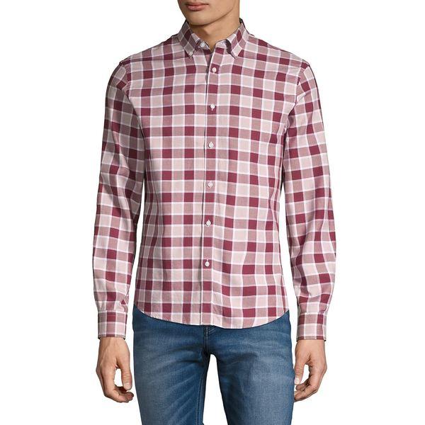 ブラック・ブラウン1826 メンズ シャツ トップス Plaid Oxford Button-Down Shirt Bright Burgundy