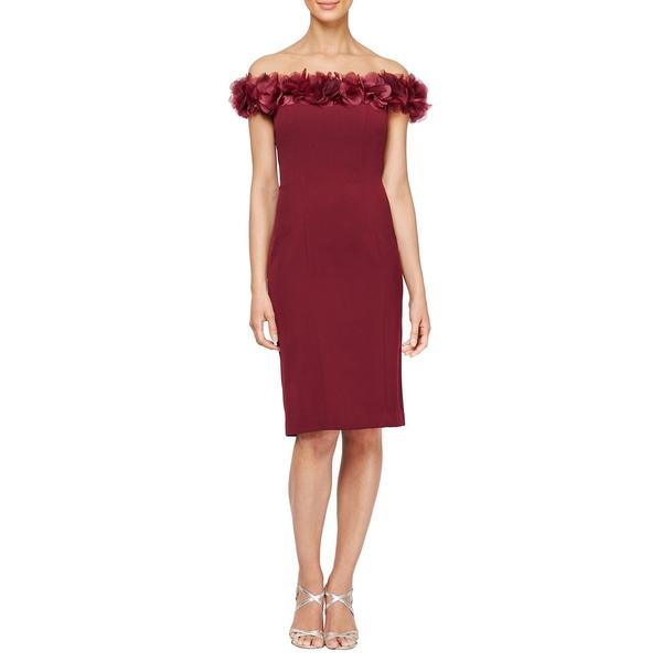 アレックスイブニングス トップス レディース Dress ワンピース Floral トップス Off-The-Shoulder Floral Detail Dress Burgundy, SALE market:fc9a1d6d --- officewill.xsrv.jp