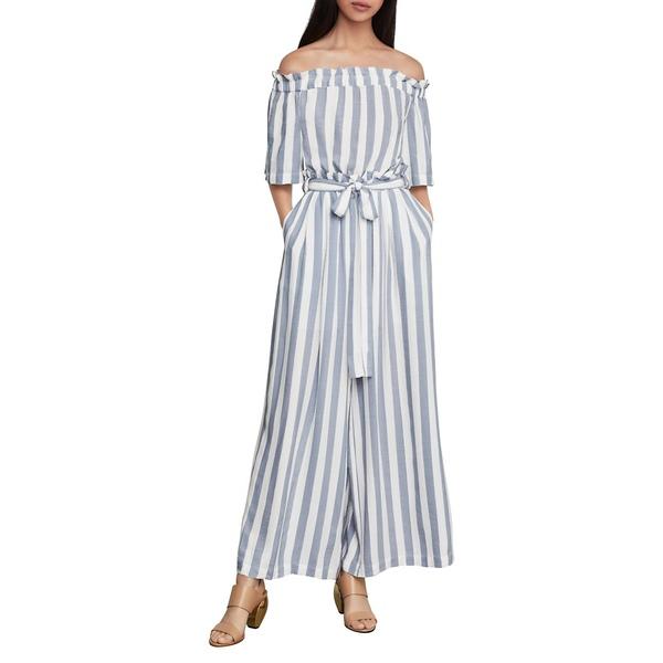 ビーシービージーマックスアズリア Blend Jumpsuit レディース ワンピース Cotton トップス Striped Off-The-Shoulder Linen & Cotton Blend Jumpsuit Blue, 日置郡:ffd63629 --- officewill.xsrv.jp