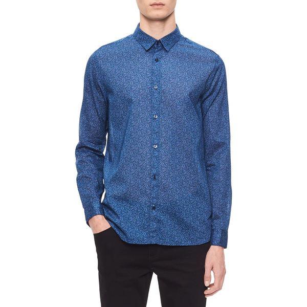 カルバンクライン メンズ シャツ トップス Regular-Fit Floral Shirt Blue Depth