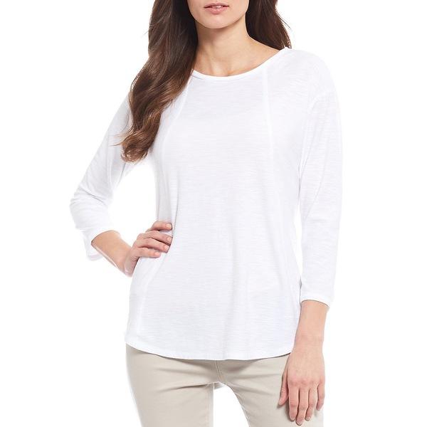 ウェストボンド Tシャツ White Cotton Seam Sleeve Solid トップス Blend 3/4 レディース Tee