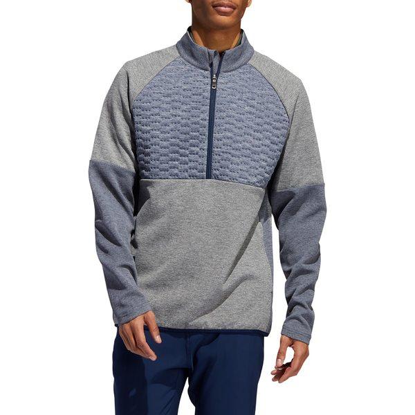 アディダス メンズ パーカー・スウェットシャツ アウター adidas Men's Quilted Frostguard Zip Golf Pullover LegendEarthMel