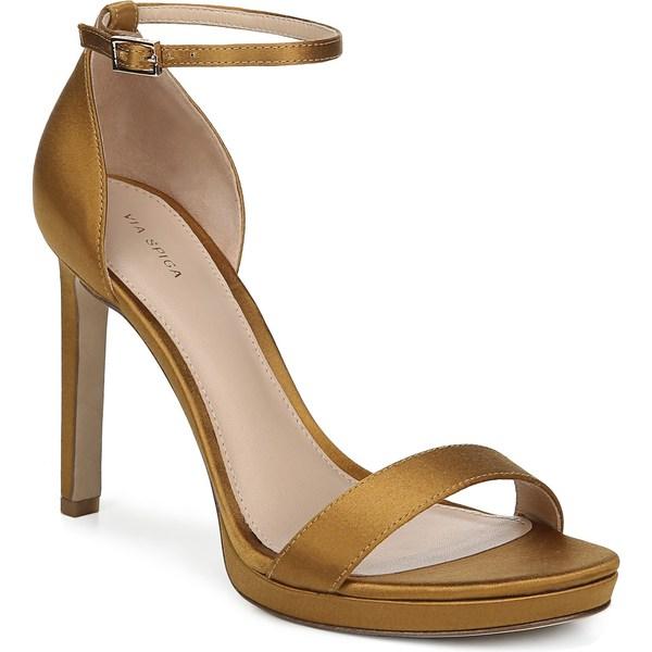 ヴィアスピガ レディース サンダル シューズ Via Spiga Marcela Ankle Strap Stiletto Sandal (Women) Brass Satin