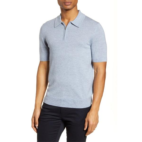 レイス メンズ ポロシャツ トップス Reiss Maxwell Zip Wool Polo Soft Blue Melange