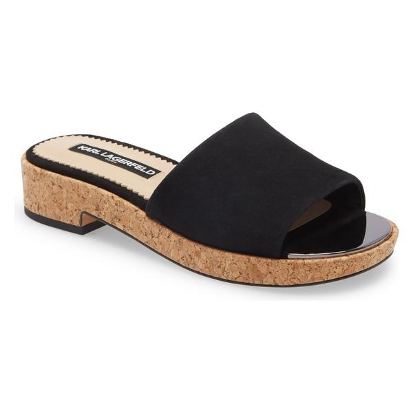 カールラガーフェルド レディース サンダル シューズ Karl Lagerfeld Paris Platform Slide Sandal (Women) Black Fabric