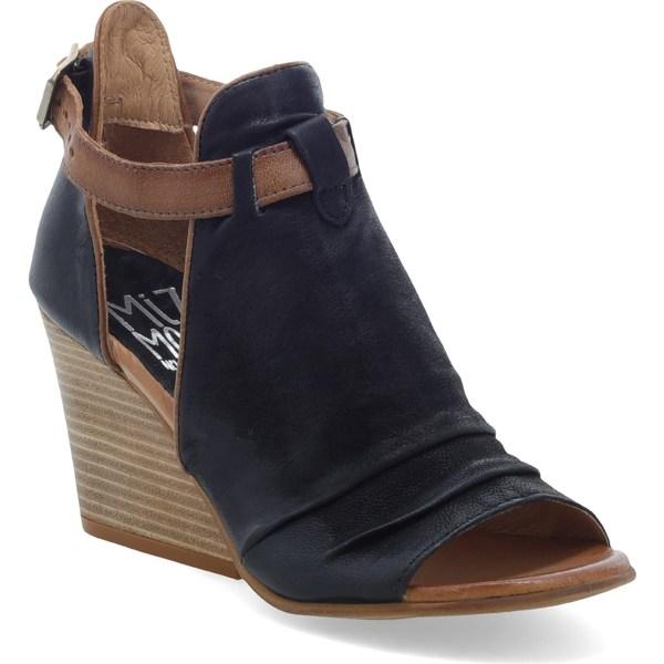 ミズムーズ レディース サンダル シューズ Miz Mooz Kismet Wedge Sandal (Women) Black Leather