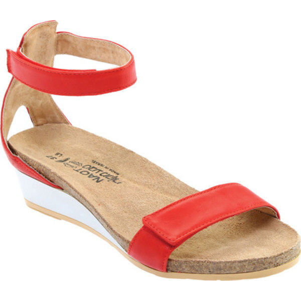 ナオト レディース サンダル シューズ Mermaid Ankle Strap Wedge Sandal Kiss Red Leather