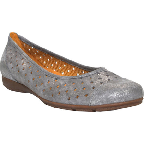 ガボール レディース サンダル シューズ 64-169 Punched Detail Ballet Flat Grey Metallic/Leather