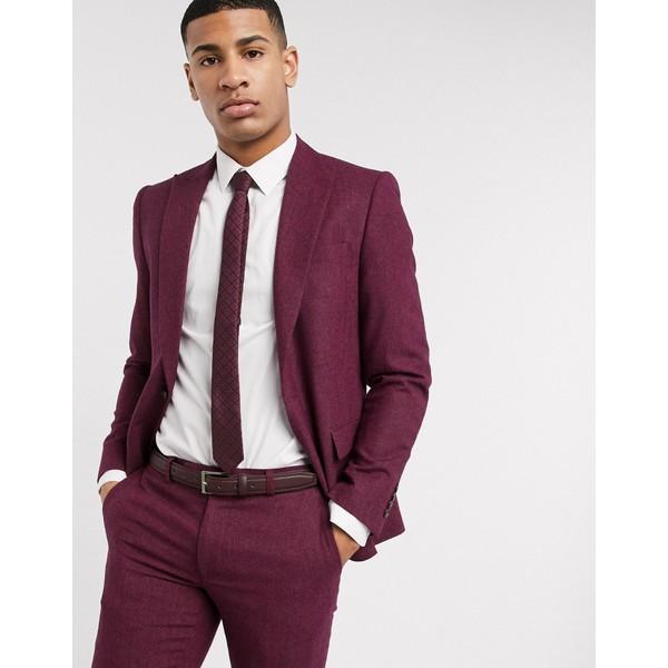 モスブロス メンズ ジャケット&ブルゾン アウター Moss London slim fit herringbone suit jacket in maroon red Raspberry