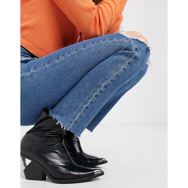 エイソス レディース デニムパンツ ボトムス ASOS DESIGN Recycled Farleigh high waist slim mom jeans in dark wash with busted knees Dark wash