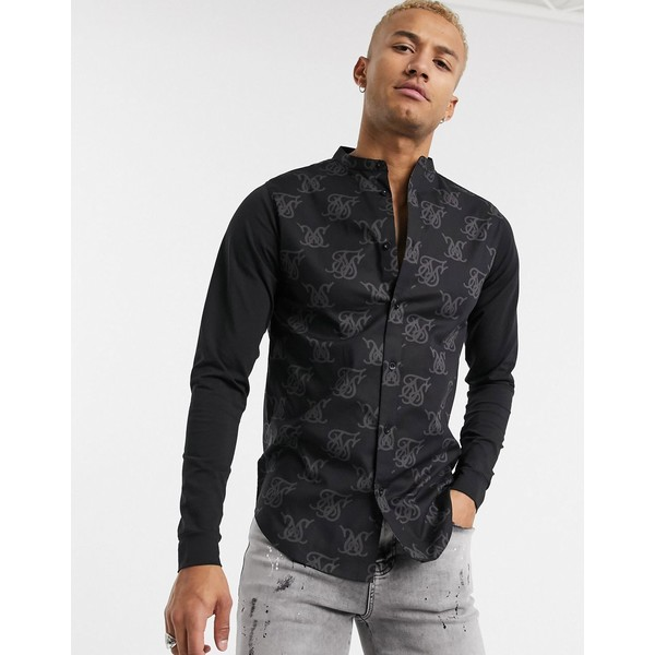 シックシルク メンズ シャツ トップス SikSilk muscle fit shirt with jersey sleeves in all over logo print Black