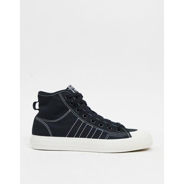 アディダスオリジナルス メンズ スニーカー シューズ adidas Originals nizza hi top sneakers in canvas black Bk1 - black 1