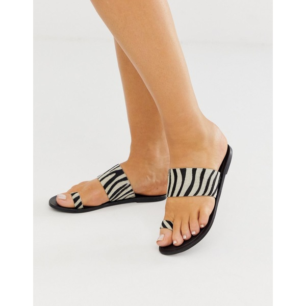 エイソス レディース サンダル シューズ ASOS DESIGN Faro leather toe loop flat sandals in zebra Zebra