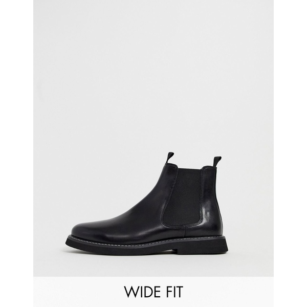 エイソス メンズ ブーツ&レインブーツ シューズ ASOS DESIGN Wide Fit chelsea boots in black leather with chunky sole Black