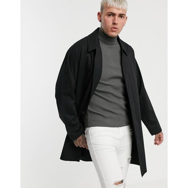 エイソス メンズ コート アウター ASOS DESIGN single breasted lightweight trench coat in black Black