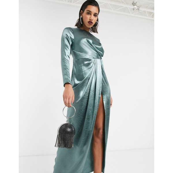 エイソス レディース ワンピース トップス ASOS DESIGN drape detail maxi dress Marine blue7yb6IfgvY