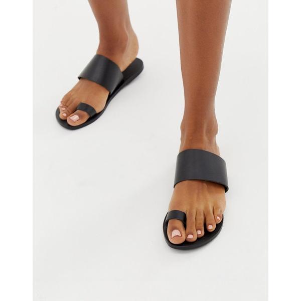 エイソス レディース サンダル シューズ ASOS DESIGN Faro leather toe loop flat sandals Black
