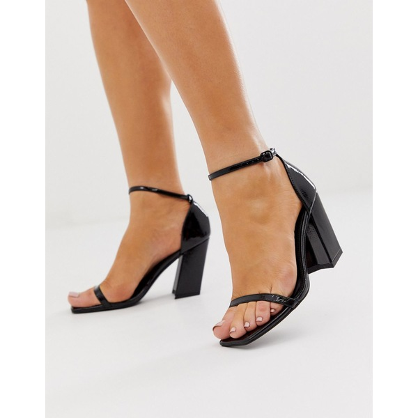 エイソス レディース ヒール シューズ ASOS DESIGN Highgate barely there block heeled sandals in black Black patent