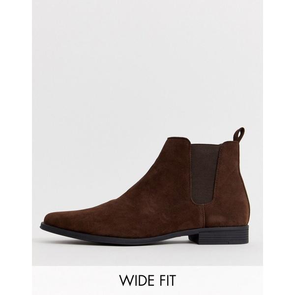 エイソス メンズ ブーツ&レインブーツ シューズ ASOS DESIGN Wide Fit chelsea boots in brown faux suede Brown