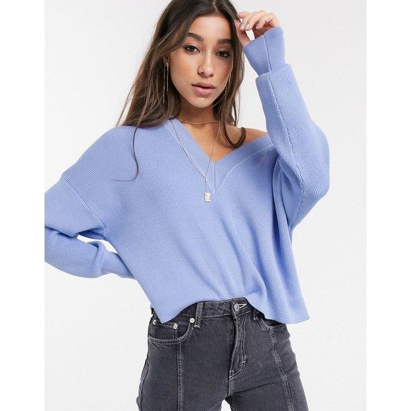 オブジェクト レディース ニット&セーター アウター Object sweater with v front & v back in blue Blue